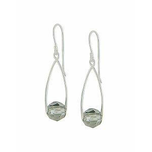 Black Diamond Swarovski Crystal Silver Drop Earrings