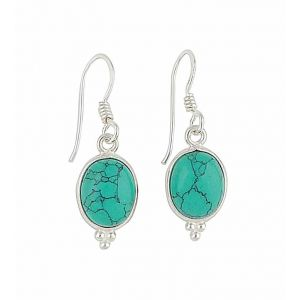 Turquoise Oval Small Silver Drop Earrings