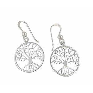 Tree of Life Circle Silver Drop Earrings