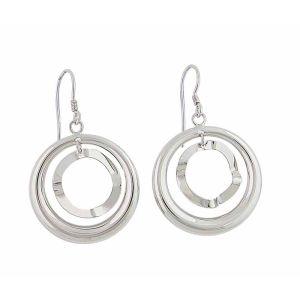 Two Open Circle Silver Drop Earrings