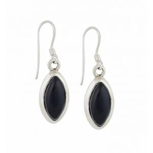 Marquis Black Onyx Silver Drop Earrings