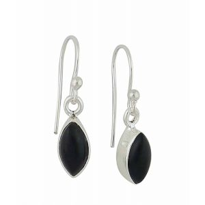 Marquise Black Onyx Small Silver Drop Earrings (Earrings)