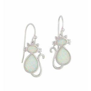 White Opal Cat Drop Earrings