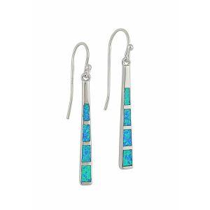 Blue Opal Sterling Silver Bar Dangle Earrings