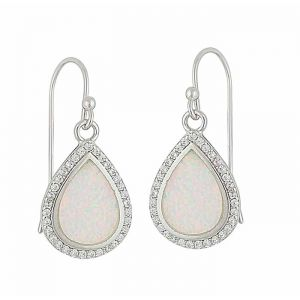 White Opal and Cubic Zirconia Dewdrop Silver Earrings