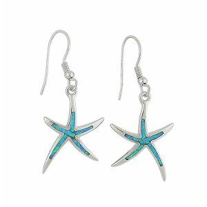 Blue Opal Starfish Silver Earrings