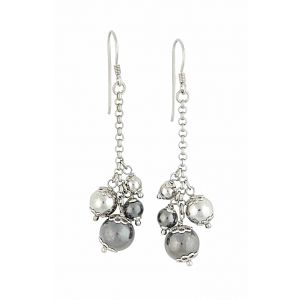 Cluster of Silver Bead Long Dangle Earrings