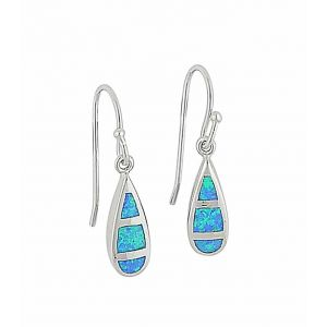 Small Teardrop Blue Opal Earrings