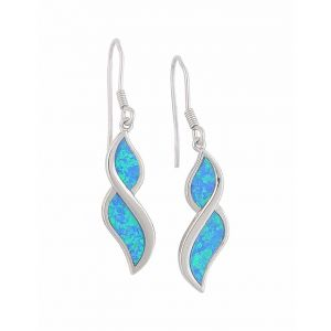 Figure of Eight Blue Opal Drop Earrings