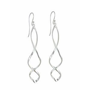 Double Helix Silver Dangle Earrings