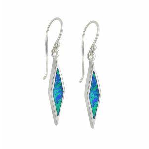 Blue Opal Diamond Design Silver Drop Earrings