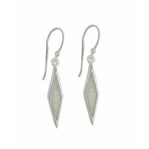 White Opal Diamond Design Silver Drop Earrings