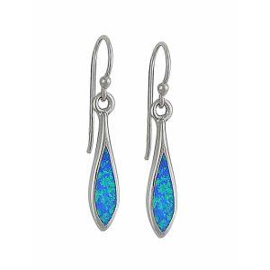 Elongated Marquise Blue Opal Drop Earrings
