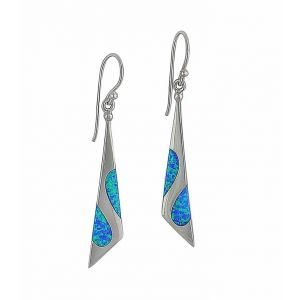 irregular Triangle Blue Opal Silver Drop Earrings
