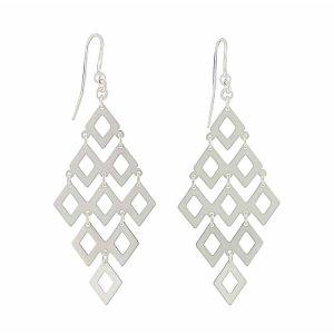 Linked Diamond Silver Drop Earrings