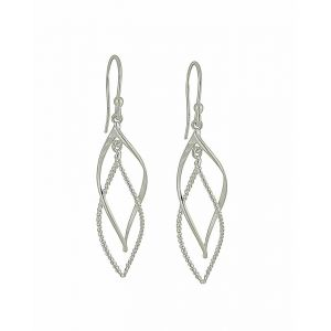 Plain and Rope Style Twisted Sterling Silver Dangle Earrings