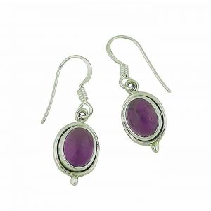 Oval Amethyst Small Silver Drop Earrings