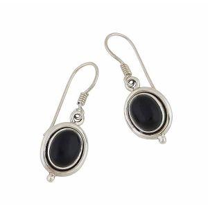 Oval Black Onyx  Small Silver Drop Earrings