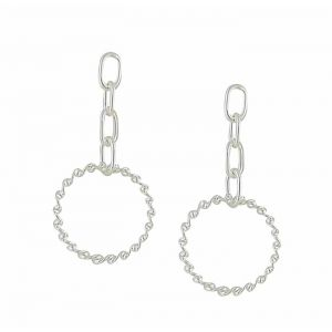 Spherical Link Silver Earrings