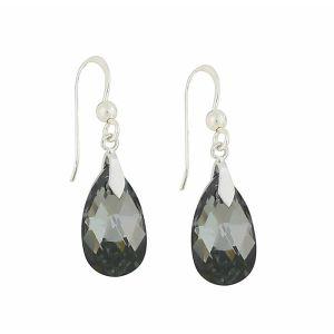 Faceted Silver Night Swarovski Drop Earrings