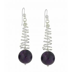 Amethyst Spiral Silver Drop Earrings