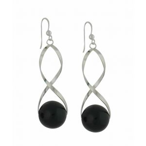 Encased Black Onyx Silver Drop Earrings