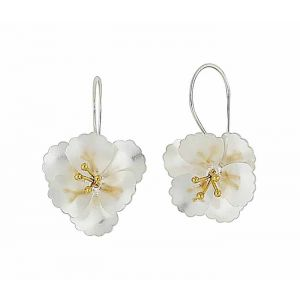 Floral Charm Silver Drop Earrings