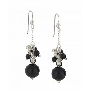 Black Onyx Bundle Silver Drop Earrings