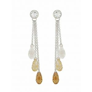Scaled Golden Shadow Swarovski Crystal  Trio Drop Earrings