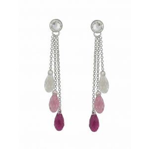 Scaled Swarovski Crystal Trio Drop Earrings