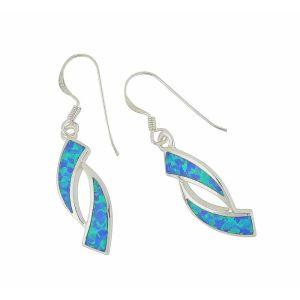 Obverse Blue Opal Silver Drop Earrings