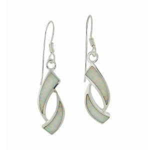 Obverse White Opal Silver Drop Earrings
