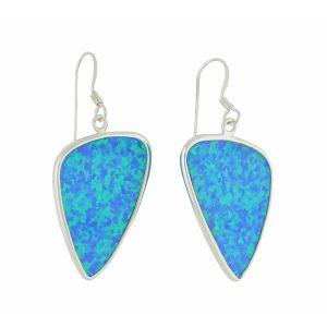 Plectrum Blue Opal Silver Earrings