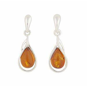 Sterling Silver Amber Teardrop Earrings