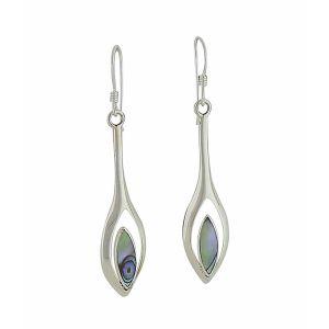 Abalone Teardrop Long Silver Earrings