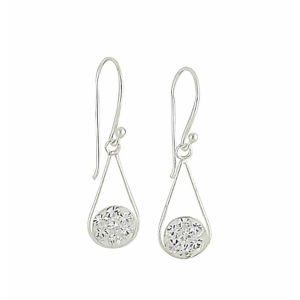 Cubic Zirconia Cradled Silver Drop Earrings