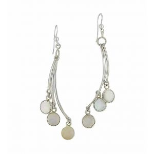 Mother of Pearl Charm Trio Long Drop Earrings