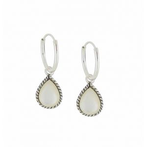Hoop Link Mother of Pearl Teardrop Silver Earrings