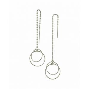 Spherical Suspension Silver Threader Earrings