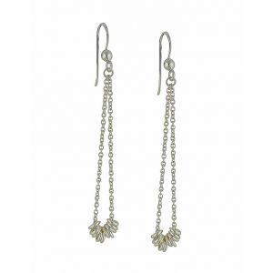 Thread Loop Silver Long Earrings