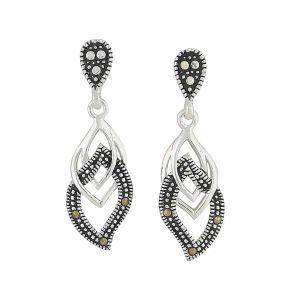 Linked Marcasite Curve Silver Drop Earrings