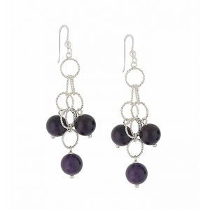 Amethyst Spherical Scatter Drop Earrings