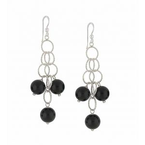 Black Onyx  Spherical Scatter Drop Earrings