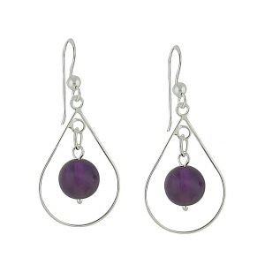 Suspended Amethyst Drop Earrings