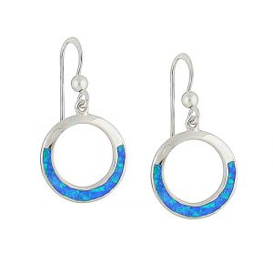 Blue Opal Rimmed Silver Earrings
