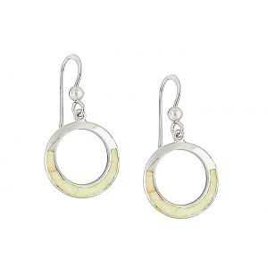 White Opal Rimmed Silver Earrings
