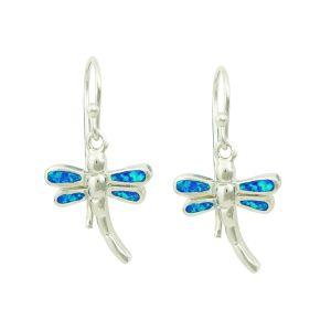 Blue Opal Winged Drop Earrings
