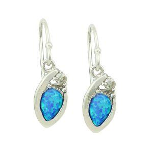 Nestled Blue Opal Silver Earrings