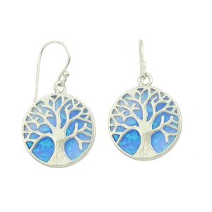 Blue Opal Tree of Life Silver Earrings