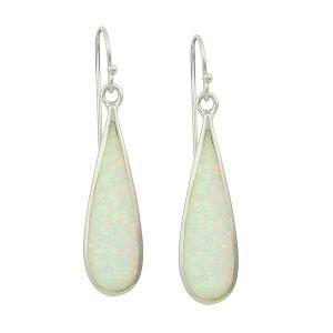 Elongated White Opal Long Earrings